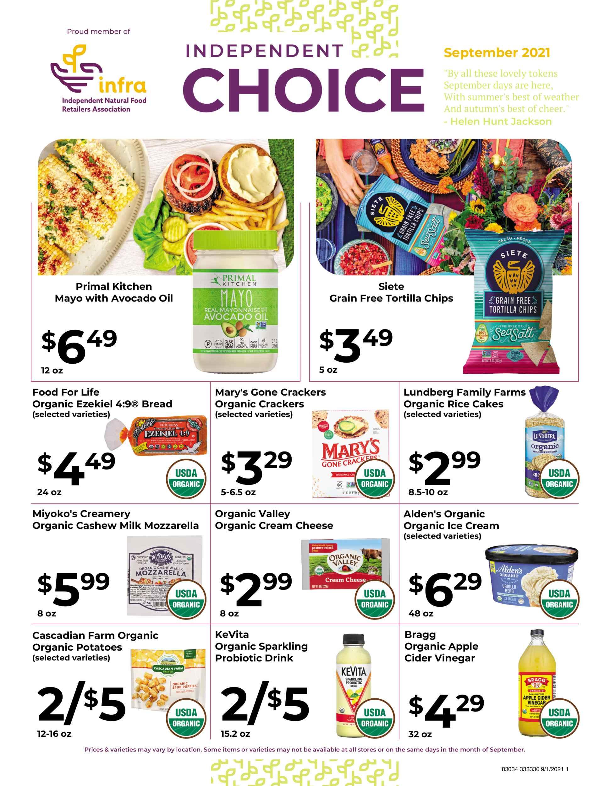 Nature's Pick Market September 2021 Sale Page 1