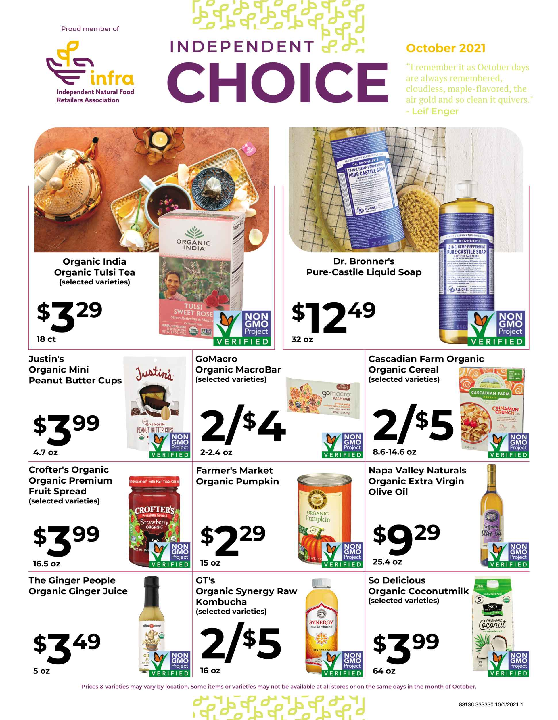 Natures Pick Market Monthly sale October 2021 page 1